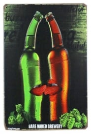 Blikken metalen wandbord Beer Bare Naked Brewery - 20 x 30 cm
