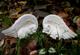 Hond grafsteen herinneringsbeeld engel met vleugels - Faithful Friend - 17 x 8.5 cm