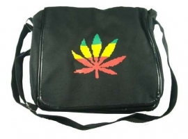 Black shoulder bag with cannabis leaf in Rasta colours