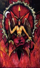 Wandkleed vlag bedsprei - Baphomet - Rood Demoon Satan Duivel - 150 x 90 cm