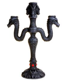 Kandelaar met 3 drakenhoofden - 30 cm hoog