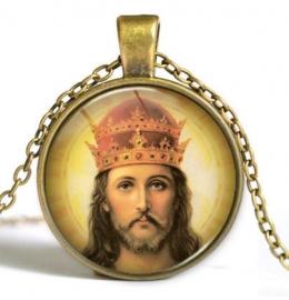 Glazen hanger met ketting Christus dessin 1