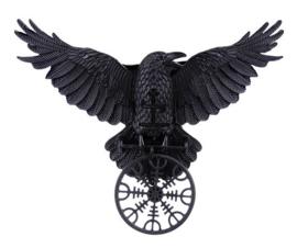 Restyle haarclipje met zwarte raaf - Helm of Awe - Noorse talisman