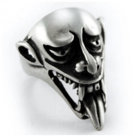 Pewter ring demonisch hoofd