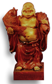 Happy boeddha met vis rood - 12.5 cm hoog