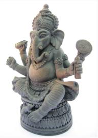 Ganesha met Rat hematiet - 18 cm hoog