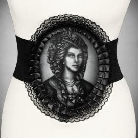 Restyle Gothic elastische riem Gothic dame hologram Skeleton Lady