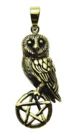 Ketting brons Uil op Pentagram - dessin Lisa Parker - 4 cm hoog