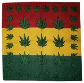 Bandana / wandkleed / tafelkleed Rastafari groene wietbladen  - ca. 55 x 55 cm