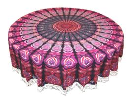 Ronde mandala doek bedsprei wandkleed tafelkleed vloerkleed paars rood - 180 cm doorsnee
