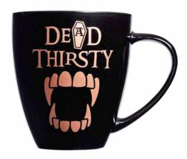 Alchemy of England - zwarte keramieke koffie mok - Dead Thirsty - 10,9 cm hoog
