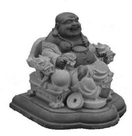 Happy Boeddha op drakenstoel zwart grijs hematiet - 9 cm hoog