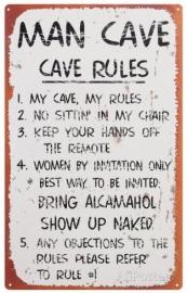 Blikken metalen wandbord Man Cave 20 x 30 cm