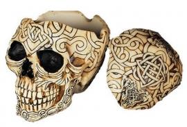 Keltische doodskop opbergdoos / asbak - 12 cm hoog