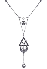 Restyle lange zilverkleurige nekketting - Geometry - alchemy symbolen