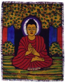 Batik wandkleed van Nepal - Boeddha - 45 x 55 cm