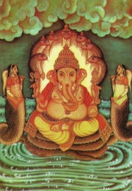 Briefkaart / Hindu wenskaart Ganesha & naga's