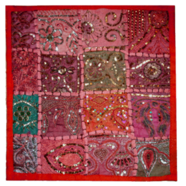 Indiase kussenhoes lapjesdessin met glitters rood 40 x 40 cm