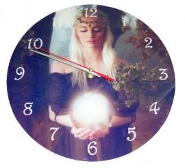 Glazen wandklok Gwendydd - Cindy Grundsten - 25 cm Ø