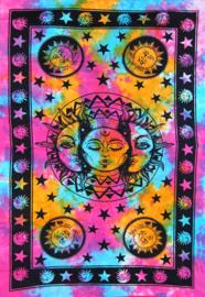 Een persoons bedsprei, wandkleed 3 voudige zon gekleurd - 120 x 220  cm