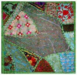 Indiase kussenhoes lapjesdessin groen dessin 2 - 40 x 40 cm