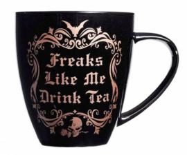 Alchemy of England - zwarte keramieke koffie mok - Freaks like me drink Tea - 10,9 cm hoog