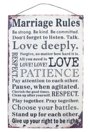 Blikken metalen wandbord Marriage Rules 20 x 30 cm
