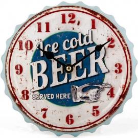 Metalen flessendop klok - Ice Cold Beer - 20 cm doorsnee