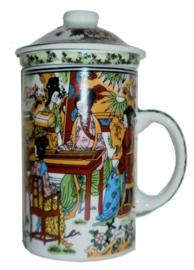 Driedelige porseleinen theemok - 14 x 7 cm - Chinese Dames