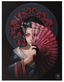 Geisha skull - wandbord van Anne Stokes - 25 x 19 cm