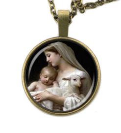 Glazen hanger met ketting Maria en Christus met lam