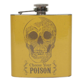 Roestvrije stalen heupfles - Choose your Poison - Cabinet of Curiousities - 11 x 9.5 x 2.5 cm