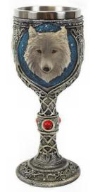 Witte wolf kelk - 15.5 cm hoog