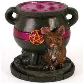 Wierookkegelbrander heksenketel muis - 8 cm hoog