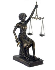 Vrouwe Justitia brons zittend 29 cm hoog