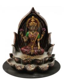 Backflow wierookbrander Lakshmi op Lotus - 15 cm hoog