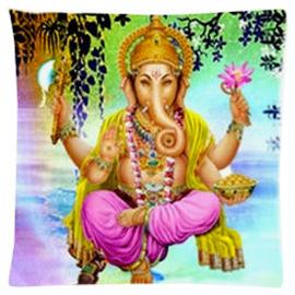 Kussenhoes Ganesha zittend roze broek - 45 x 45 cm
