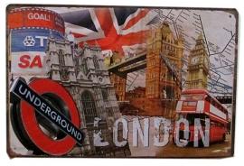 Blikken metalen wandbord London 20 x 30 cm