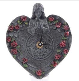 Gothic Duistere Engel met Rozen klok