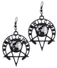 Restyle zwarte oorbellen - Witch Moon - Occulte hekserij maanfasen