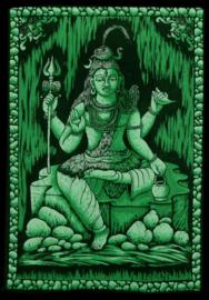 Indiase wandkleed muurkleed katoen Shiva driekleurig zwart wit groen - c.a.  80 x 110 cm