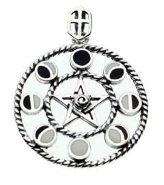 925 zilveren kettinghanger pentagram met maanfasen - 3.5 cm doorsnee