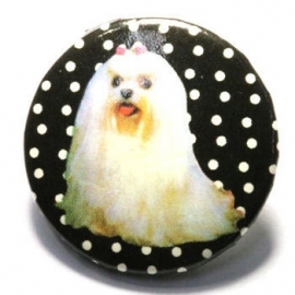 Retro button Witte Hond