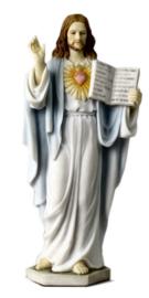 Jezus Christus met Oud Testament en Heilig Hart - polystone beeld - 16,5 cm
