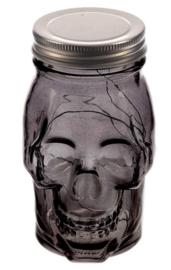 Doorzichtige doodskop met ledlicht en schroefdop - zwart - 13 cm hoog