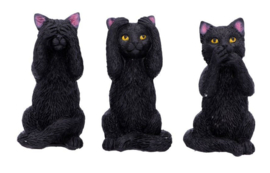 3 Wise Felines - Horen Zien Zwijgen Zwarte Katten - 8.5 cm hoog