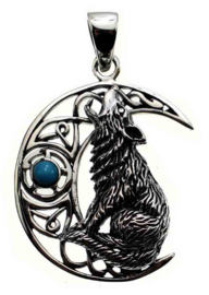 925 sterling zilveren kettinghanger Wolf in Keltisch Maan met turquoise steen Lisa Parker 3.2 cm hoog