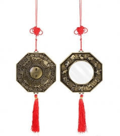 Feng Shui Bagua windmobiel hanger met spiegel