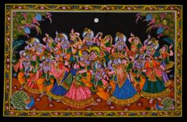 Muurkleed Krishna en Rhada dansend in maanlicht 2  - 80 x 110 cm