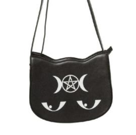 Banned Apparel - Jinx - schoudertas met kattenogen en drievoudige maan met pentagram